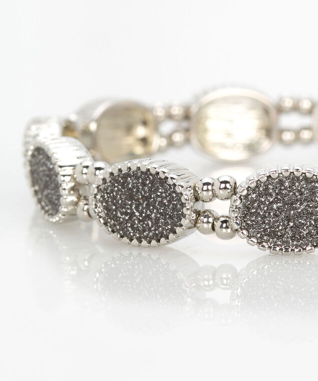 Glitter Paper Stretch Bracelet, Rhodium/Iron, hi-res