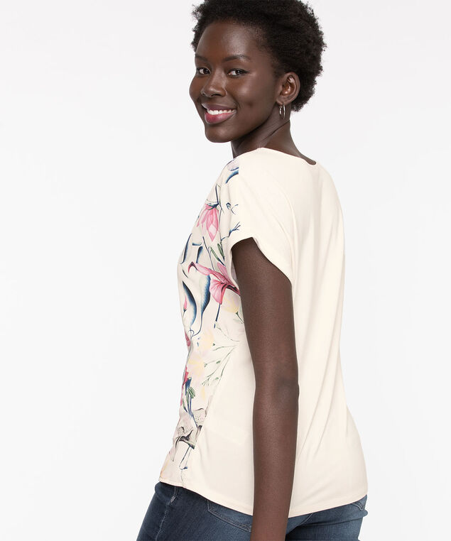 Extended Sleeve Mixed Media Top, Whisper White Floral