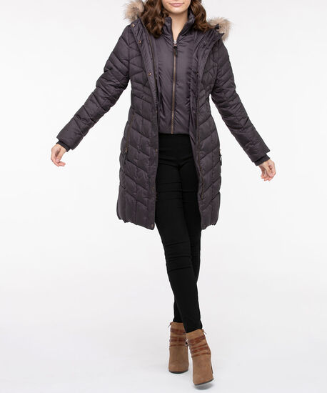 Hooded Longline Chevron Puffer Coat, Dark Grey, hi-res