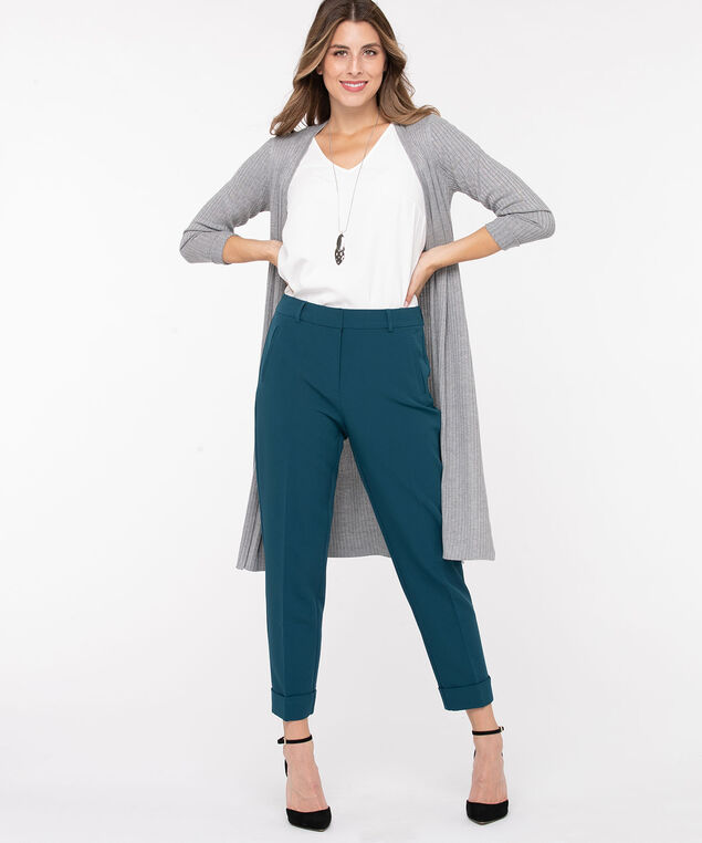 Ribbed Side Slit Duster Cardigan, Light Grey, hi-res