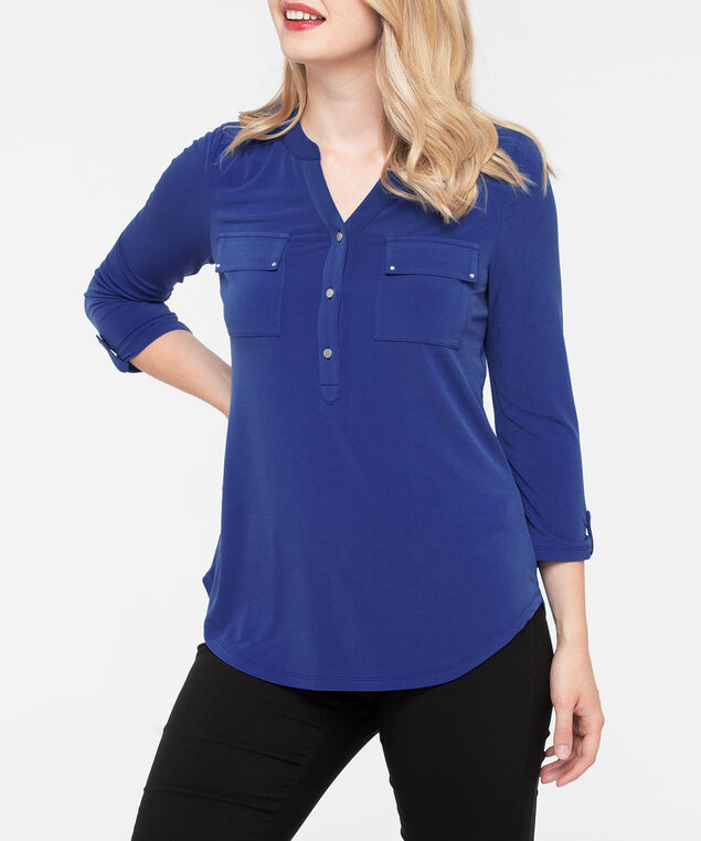 3/4 Sleeve Silver Button Top, Deep Sapphire, hi-res