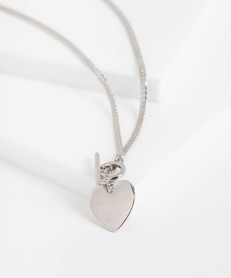 Stationed Heart Toggle Necklace, Silver, hi-res