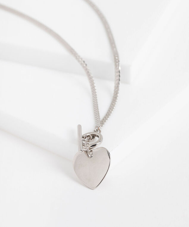 Stationed Heart Toggle Necklace, Silver