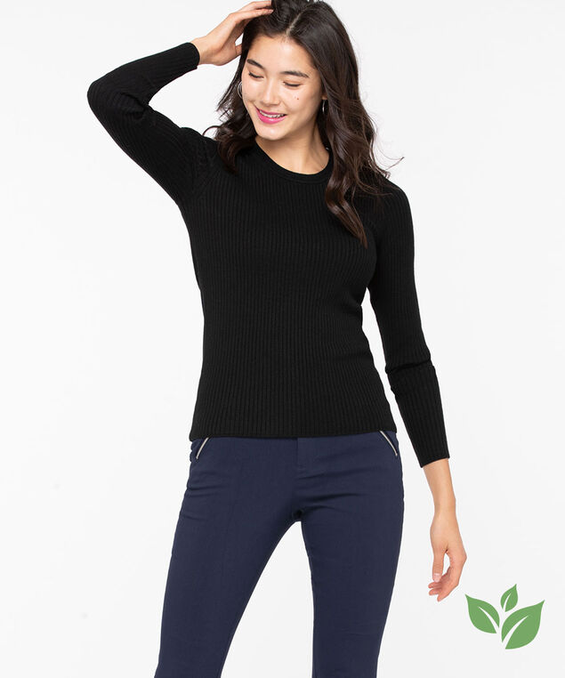 EcoVero™ Crew Neck Sweater, Black, hi-res