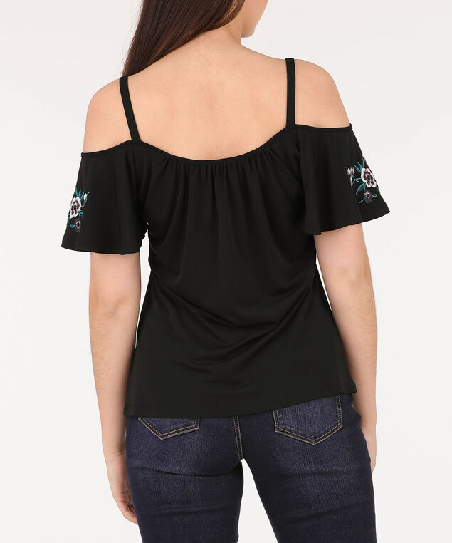 Strappy Cold Shoulder Top, Black/Pearl/Teal, hi-res