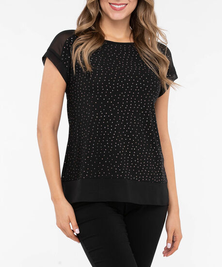 Extended Sleeve Chiffon Trim Glitter Top, Black, hi-res