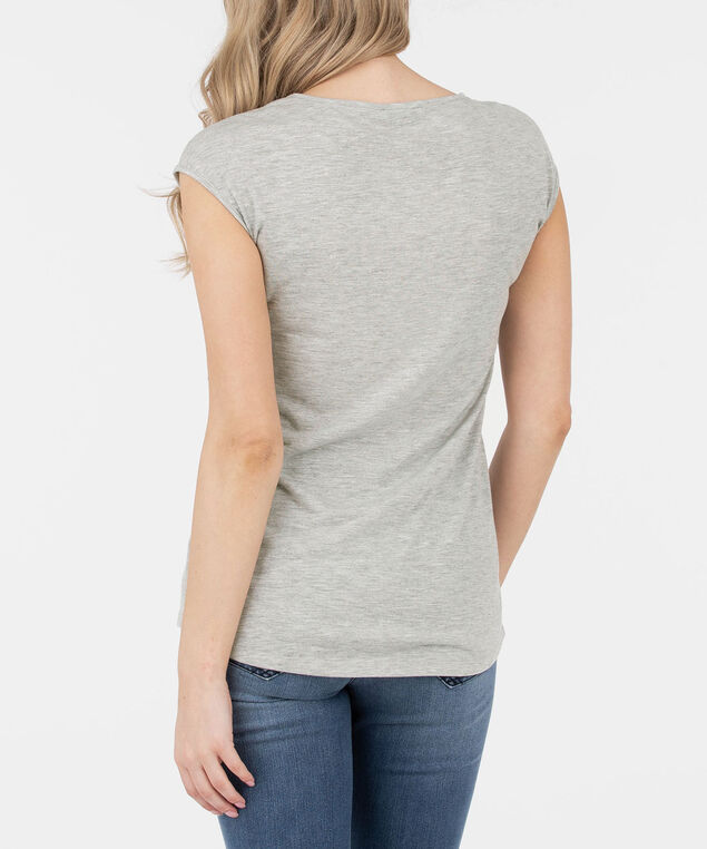 Extended Sleeve Embellished Feather Top, Light Heathered Grey/Rain/Black, hi-res