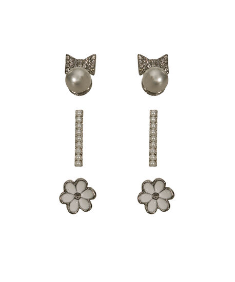 Pearl & Crystal Earring Set, White/Rhodium, hi-res
