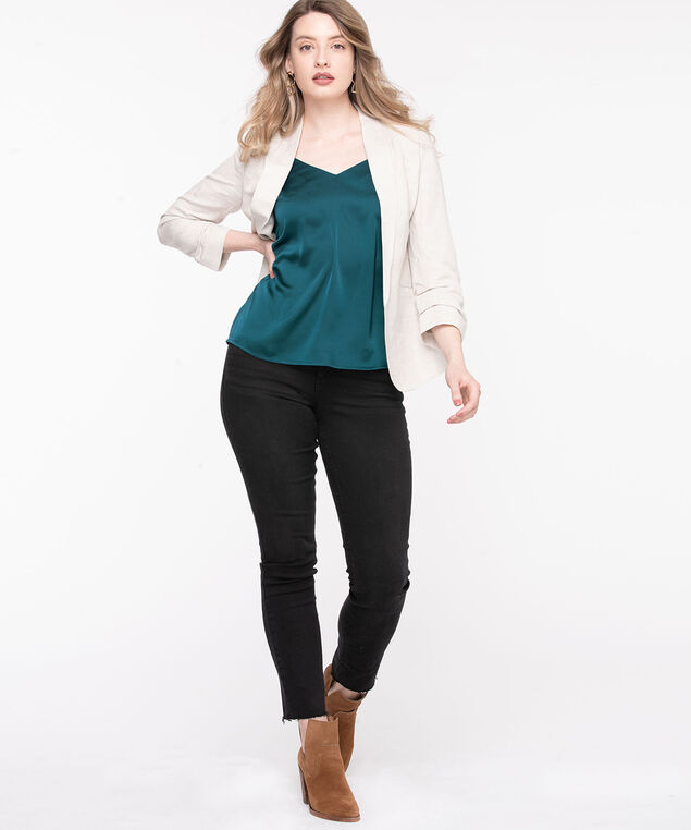 Strappy Satin V-Neck Blouse, Reef Waters