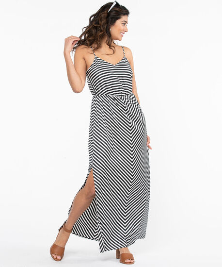 Black & White Stripe Maxi Dress, Black/White, hi-res