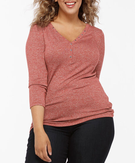 Stud Detail Henley Knit Top, Dark Rust, hi-res