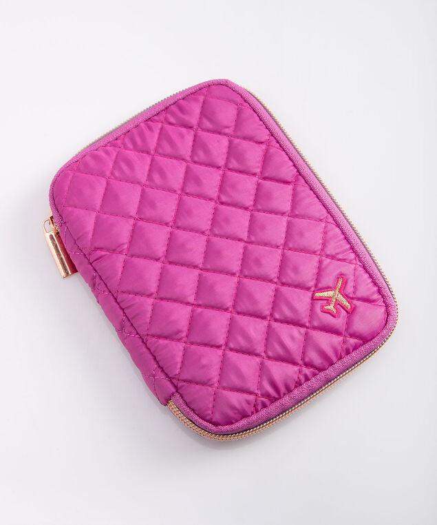 Quilted Passport Wallet, Berry/Rose Gold, hi-res