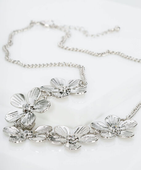 Metal Flower Necklace Set, Rhodium, hi-res