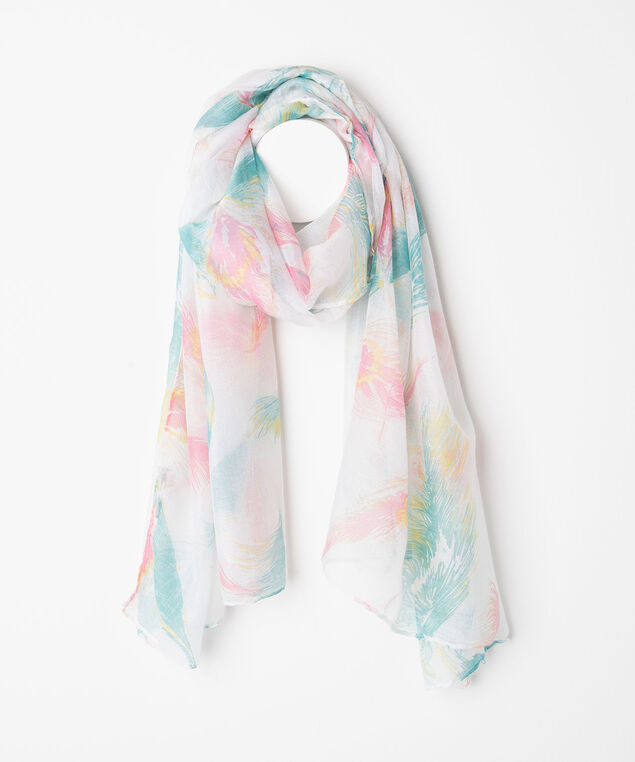 Feather Print Oblong Scarf, Pearl/Bellini/Gold/Teal, hi-res