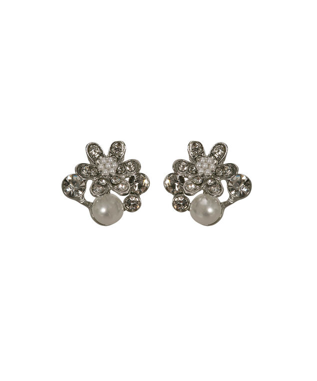 Pearl & Crystal Flower Cluster Earring, Clear/White/Rhodium, hi-res