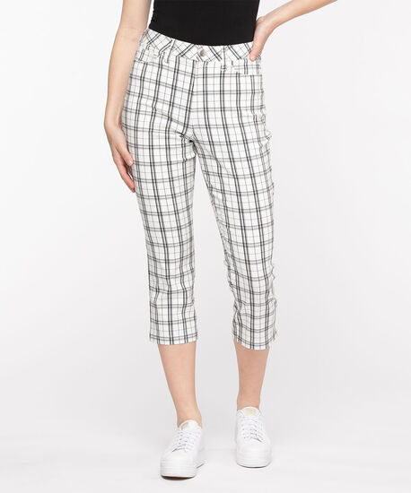 Microtwill Pull-On Crop Pant, White Plaid, hi-res