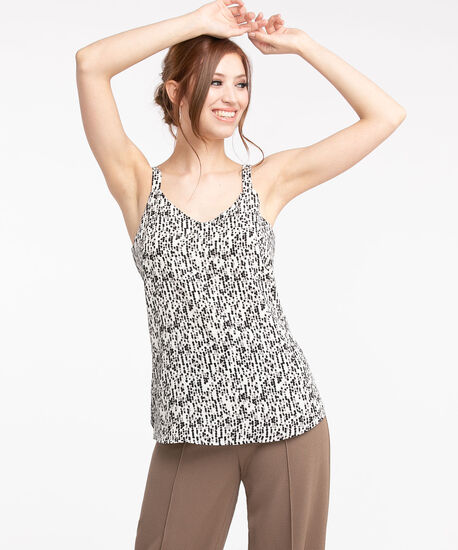 Strappy Double Layer Sleeveless Blouse, Ivory/Black Pebble, hi-res