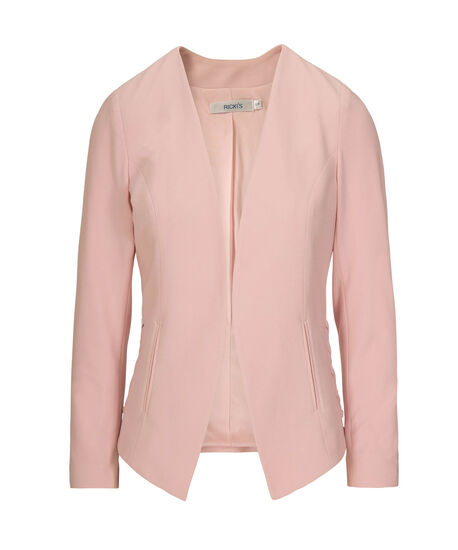 Side Lace-Up Easy Stretch Blazer, Pastel Pink, hi-res