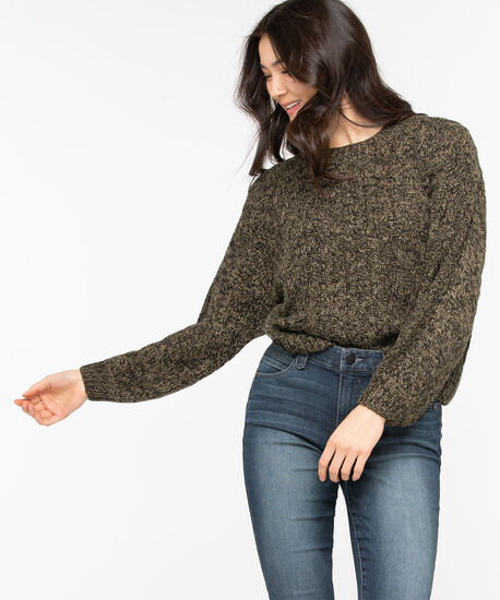 Cable Knit Cotton Blend Sweater, Olive Night, hi-res