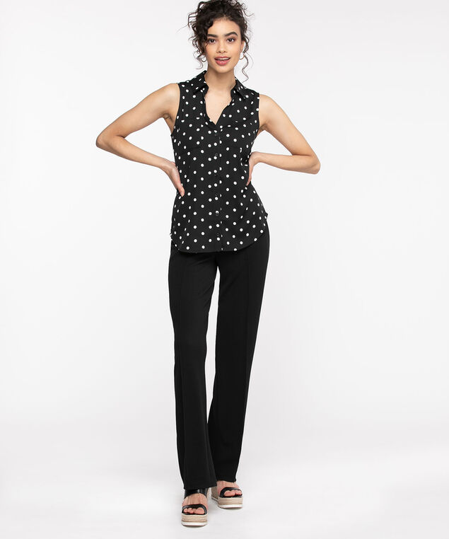 Sleeveless Collared Button Front Blouse, Black/White Dots