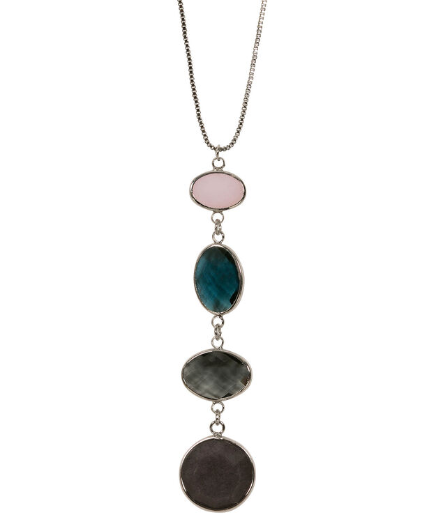 Faceted Stone Drop Pendant Necklace, Iced Violet/Blue/Rhodium, hi-res