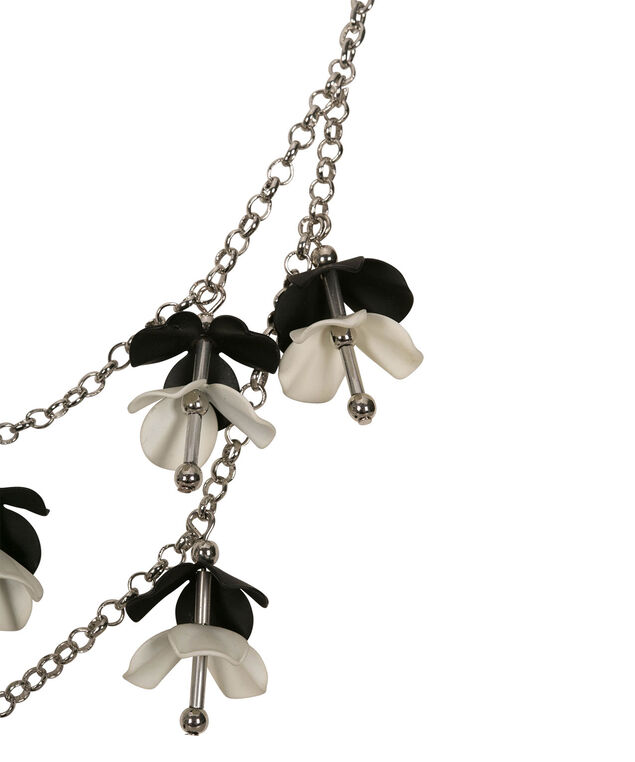 Flower Drop Statement Necklace, Black/Pearl/Rhodium, hi-res