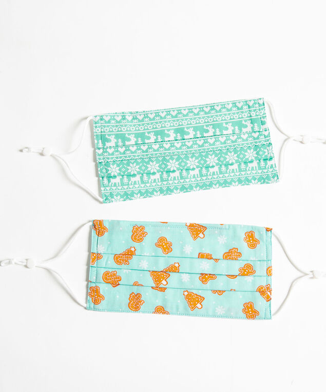 Festive Prints Face Mask 2-Pack, Seagrass/Pearl