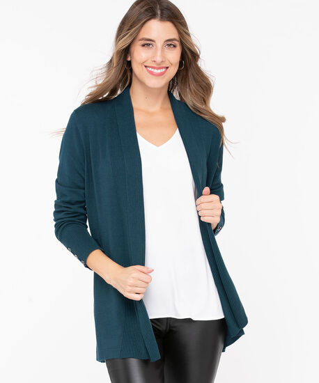 Ribbed Side Tab Open Cardigan, Teal, hi-res