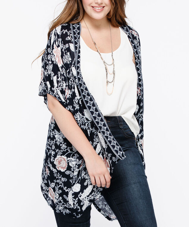 Border Print Floral Ruana, Summer Navy/True White/Cameo Pink, hi-res