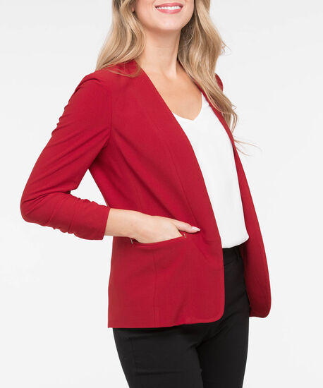 Ruched Sleeve Easy Stretch Blazer, Crimson, hi-res