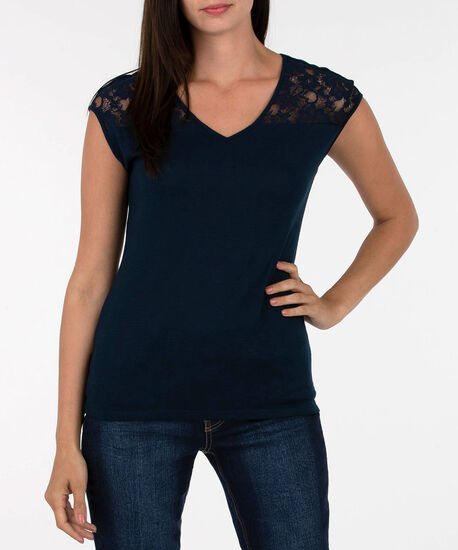 Lace Trim Extended Sleeve Top, Summer Navy, hi-res