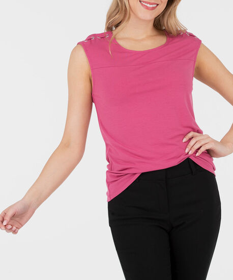 Lace Up Extended Sleeve Top, Dusty Pink, hi-res