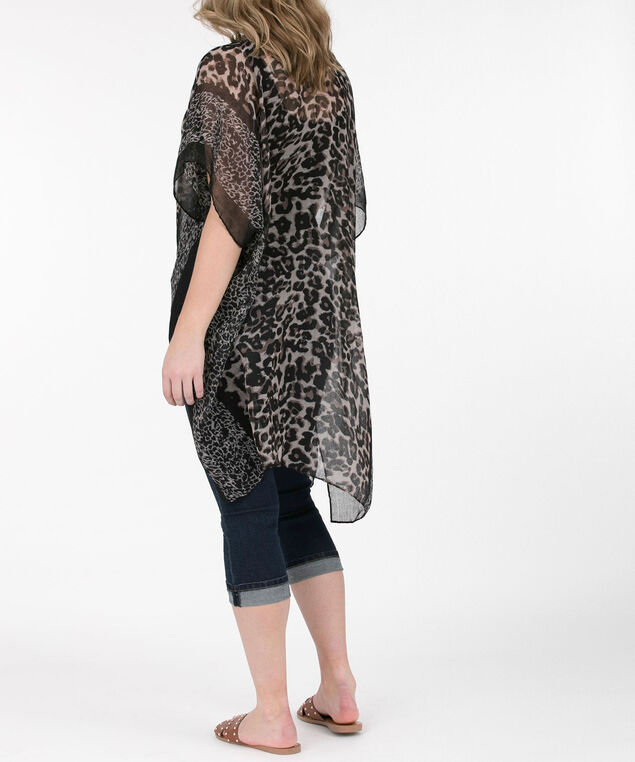 Leopard Print Ruana, Taupe/Brown/Black, hi-res