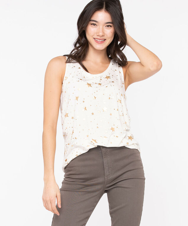 Star Print ShirtTail Tank Top, Cream/Gold Foil, hi-res