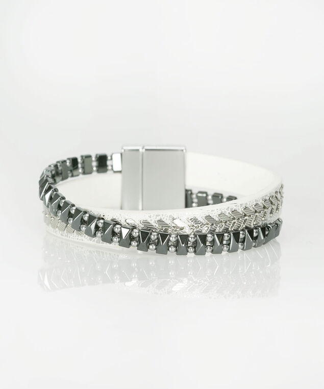 Silver & Hematite Magnetic Wrap Bracelet, True White/Rhodium, hi-res