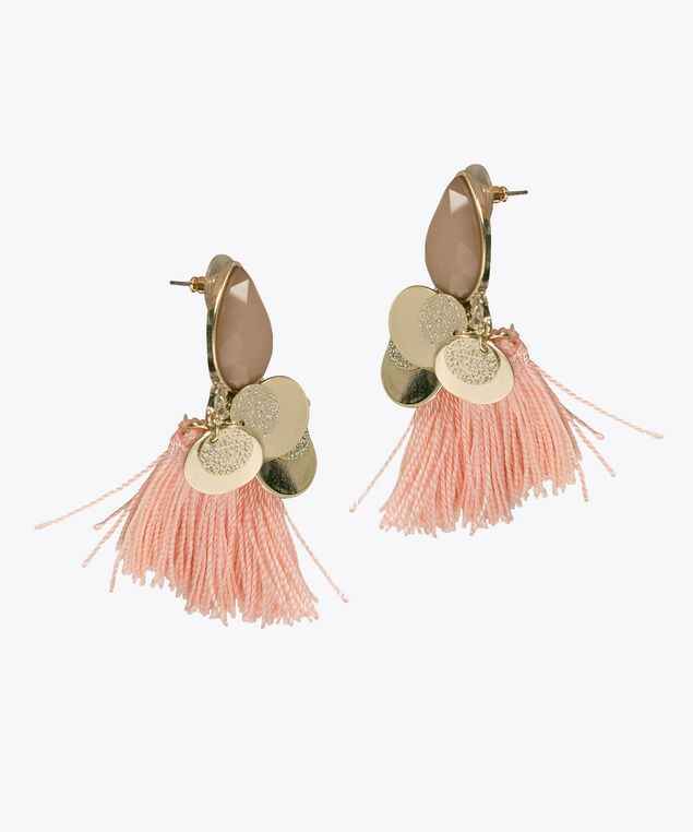 Iced Pink Tassel & Teardrop Earring, Iced Pink/Soft Gold, hi-res