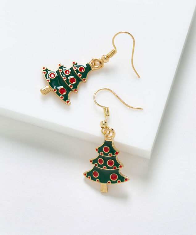 Festive Tree Earring, Green/Red/Gold, hi-res