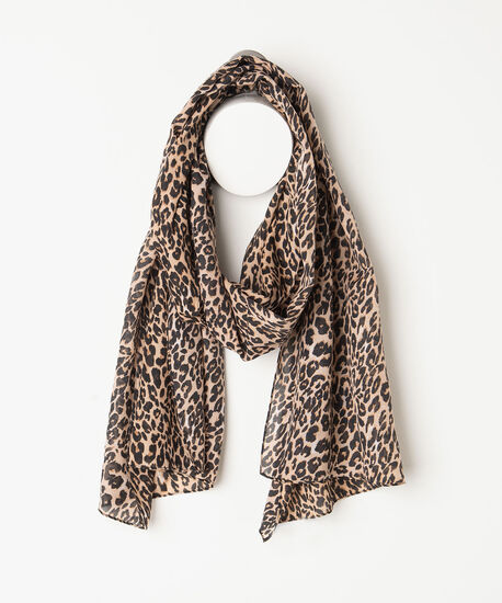 Leopard Print Oblong Scarf, Brown/Black/Sand, hi-res