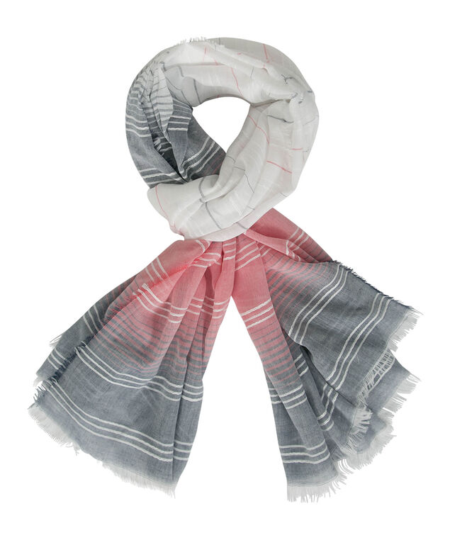 Ombre Stripe Oblong Scarf, Coral/White/Ink Blue, hi-res