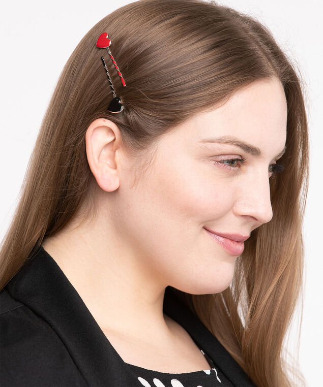 Twisted Heart Bobby Pin 6-Pack, Black/Pink/Red