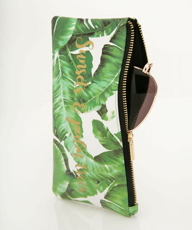 Palm Print Zip Sunglass Case, Green/White/Gold, hi-res