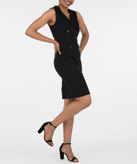 Sleeveless Tuxedo Dress, Black, hi-res