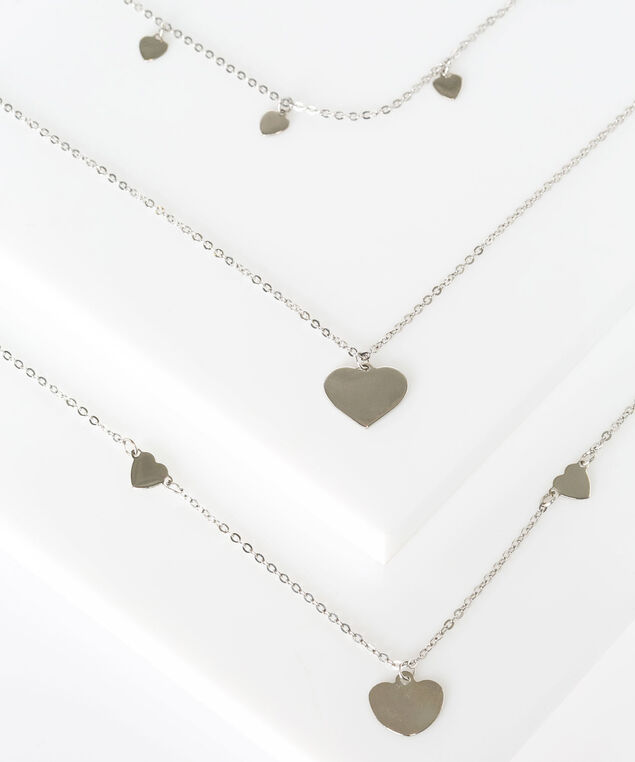 Multi Row Stationed Heart Necklace, Rhodium, hi-res