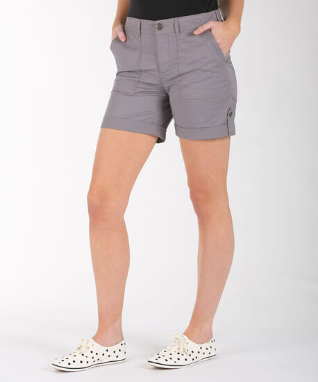 Poplin Roll Tab Short, Grey, hi-res