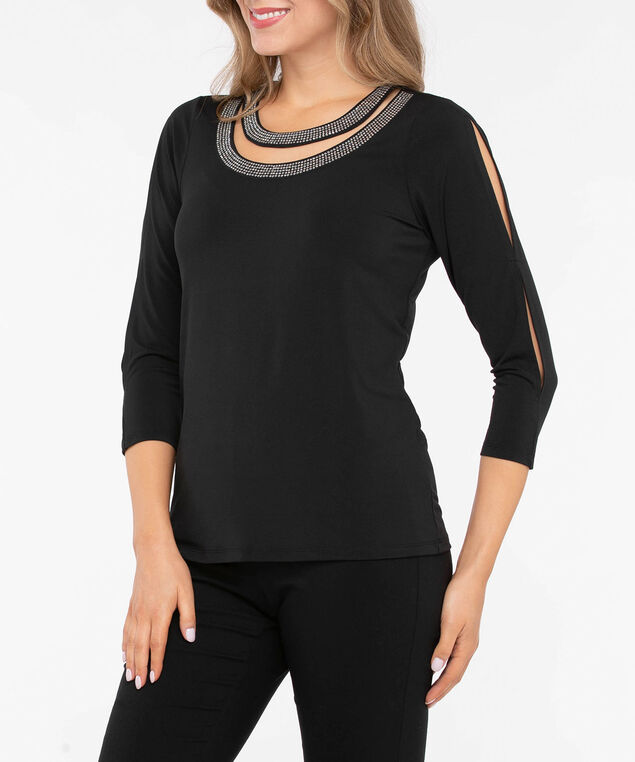 Crystal Trim 3/4 Sleeve Cutout Top, Black, hi-res
