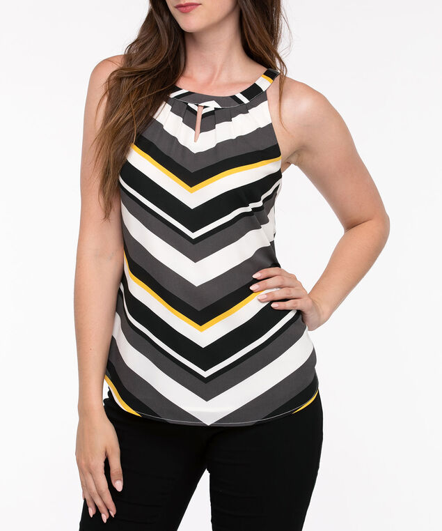 Double Layer Halter Blouse, Black/Pearl/Mustard/Gunmetal, hi-res