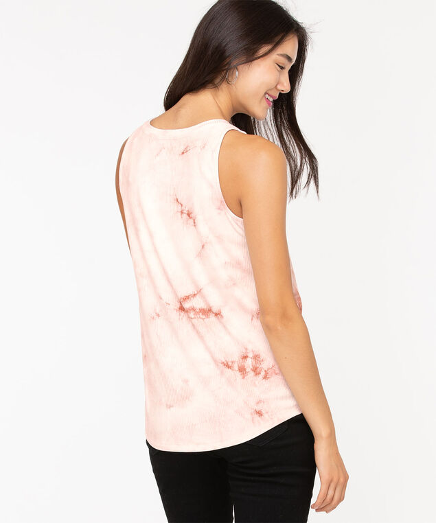Tie-Dye Shirttail Tank Top, Soft Blush, hi-res