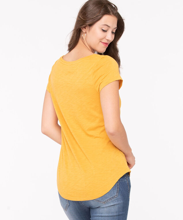 Short Sleeve Scoop Neck Tee, Turmeric, hi-res