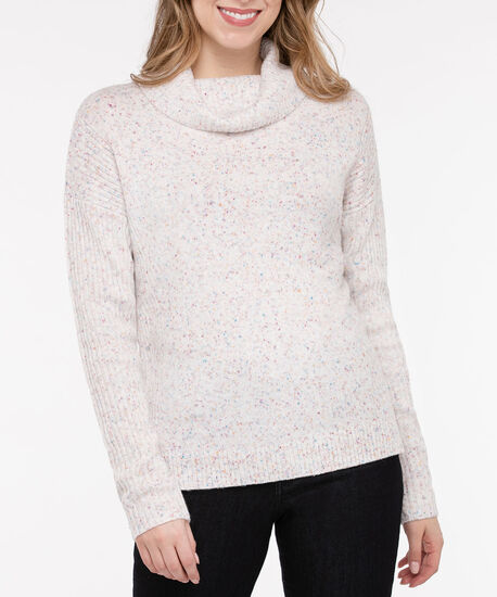 Ribbed Trim Cowl Neck Sweater, Dusty Blush Mix, hi-res