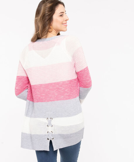 Lace-Up Detail Stripe Cardigan, Rose Petal/Pearl/Light Heather Grey, hi-res